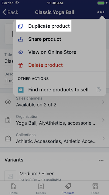 Duplicate product button - Shopify for iPhone