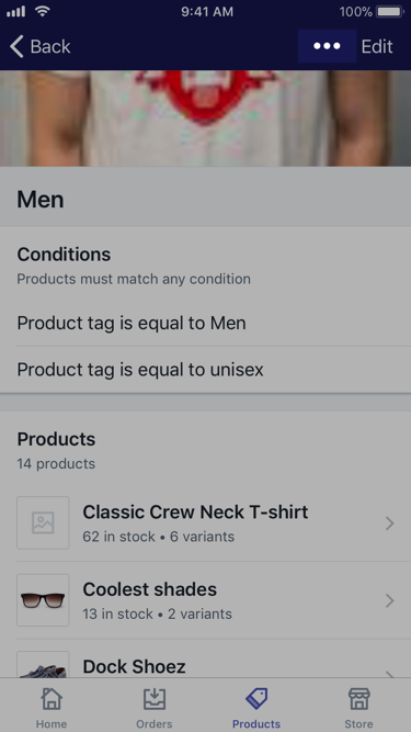 ... button on a collection screen — Shopify for iPhone