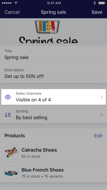 Sales channels button on collection screen — Shopify for iPhone