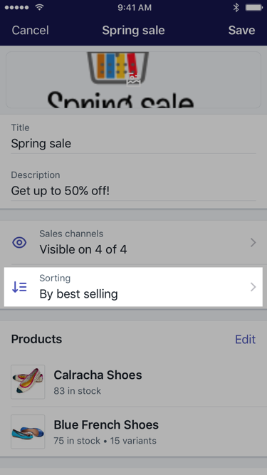 Sorting button on collection screen — Shopify for iPhone