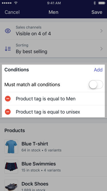 Section Conditions lors de la modification d'une collection — Shopify pour iPhone