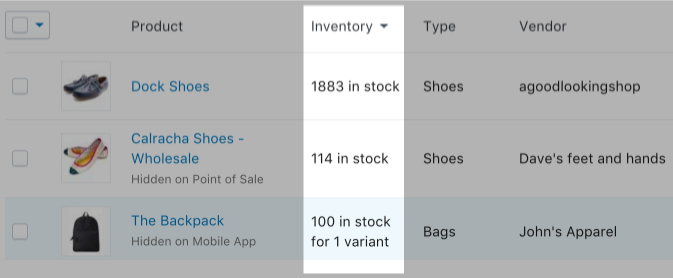 Sorting by inventory quantity