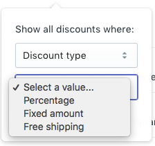 Discount type filter values