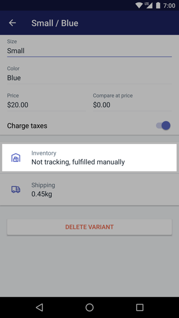 Inventory button on a product details screen — Shopify for Android