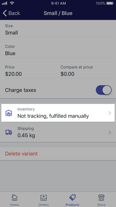 Inventory button on a product details screen — Shopify for iPhone