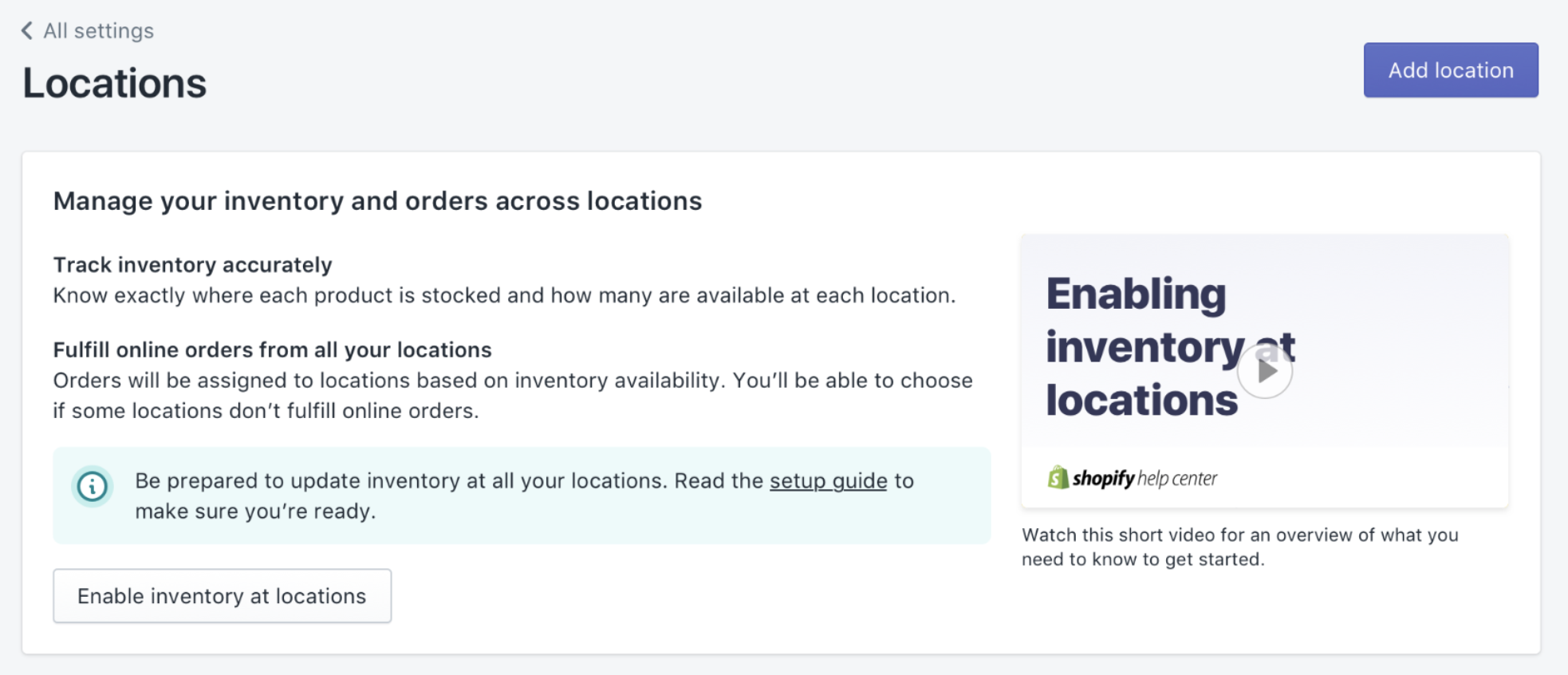 Notification the Locations page that locations aren't enabled