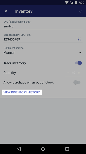 View inventory button on the Inventory screen — Shopify for Android