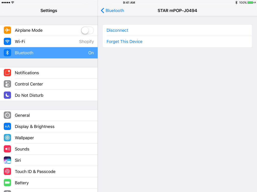Star mPop - bluetooth settings