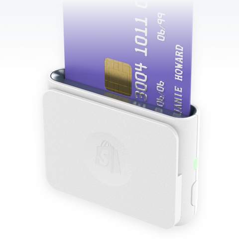 Credit card being inserted into Shopify Chip and Swipe reader