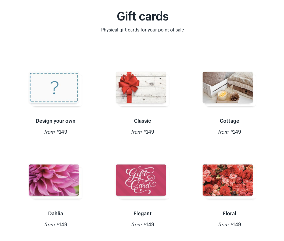 Gift cards available in the Shopify Hardware Store