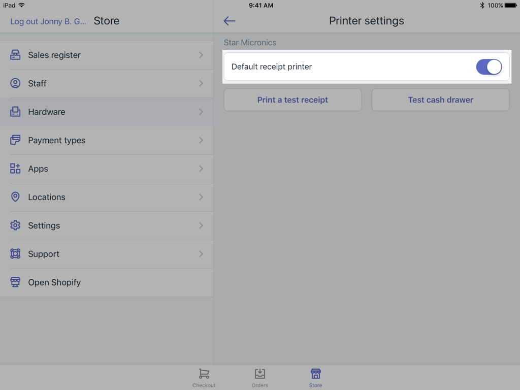 Standardindstilling for kvitteringsprinter – Shopify POS til iPad