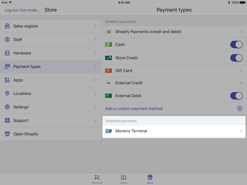 Moneris Terminal button on the Shopify POS Payments settings screen