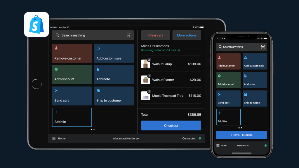 all-new POS interface shown on a tablet and mobile phone