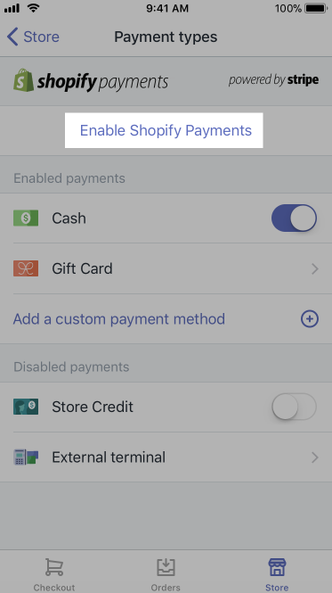 Aktivera Shopify Payments-knappen - Shopify POS för iPhone