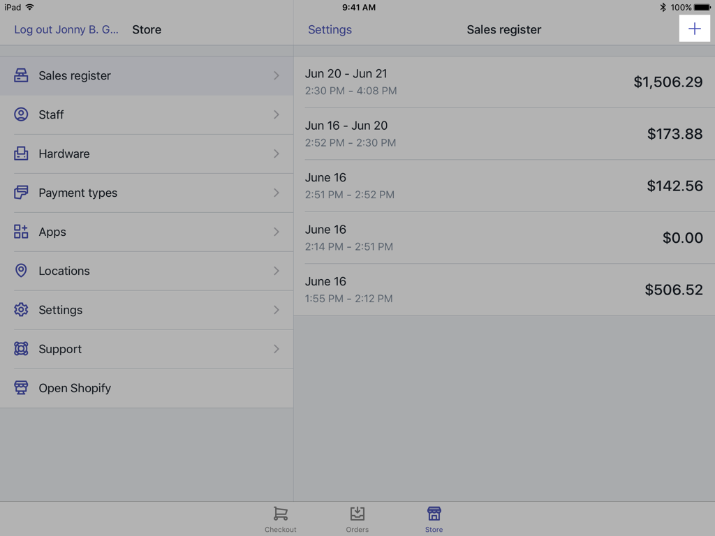 Register screen plus button — Shopify POS for iPad