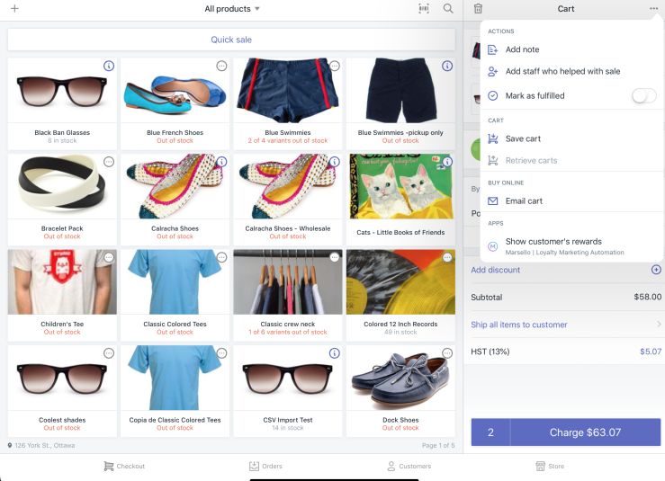 Applications dans le menu panier de Shopify PDV