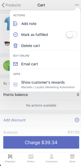 Apps no menu do carrinho do Shopify PDV