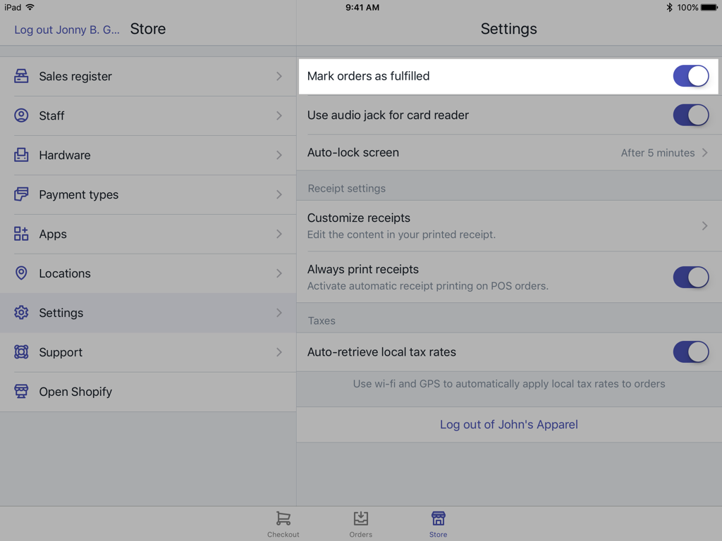 Always fulfill orders option — Shopify POS for iPad