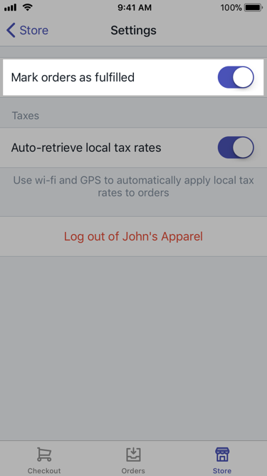 Mark orders as fulfilled option — Shopify POS for iPhone