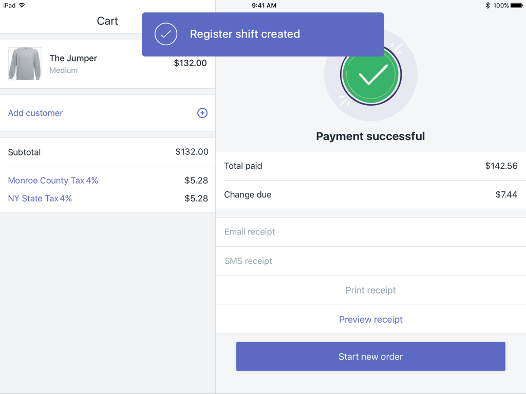 Register Shift Created message (cash tracking not enabled) — Shopify POS for iPad
