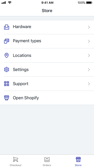 Tela Loja do Shopify PDV — Shopify PDV para iPhone