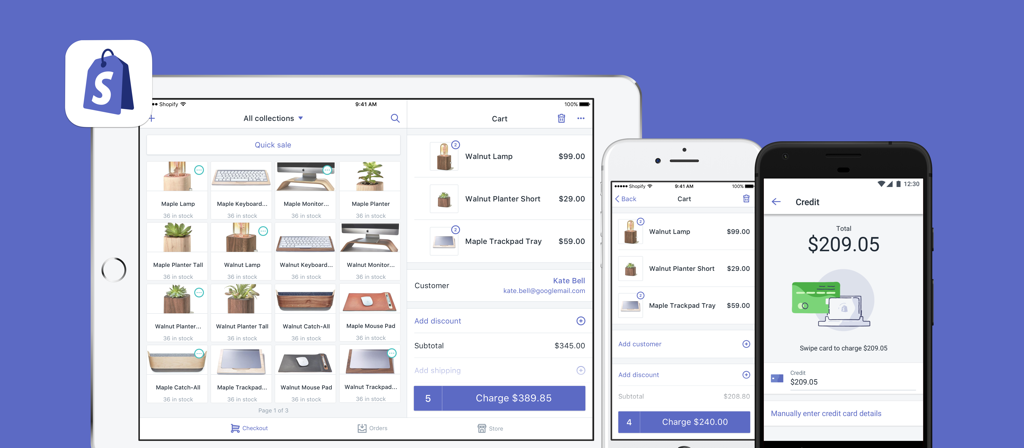 La app de Shopify POS en un iPad, iPhone y dispositivo Android