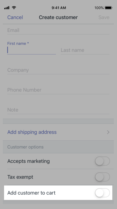 Add customer to cart button — Shopify POS for iPhone