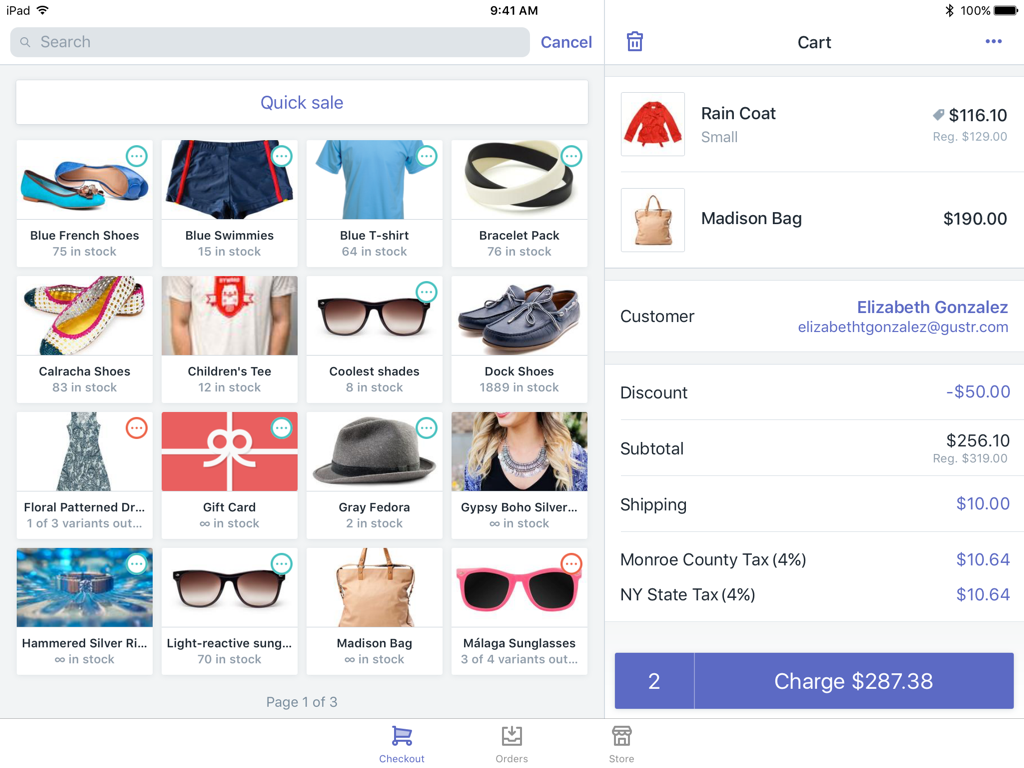 Shopify POS products and cart screen — Shopify POS for iPad