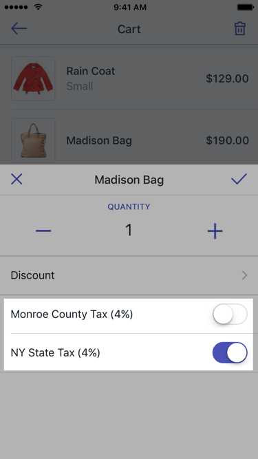 Tax rates in cart line item dialog