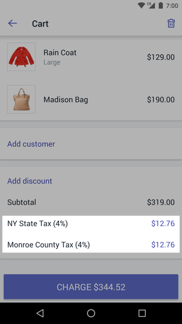 Tax rates in the Cart —Shopify POS for Android