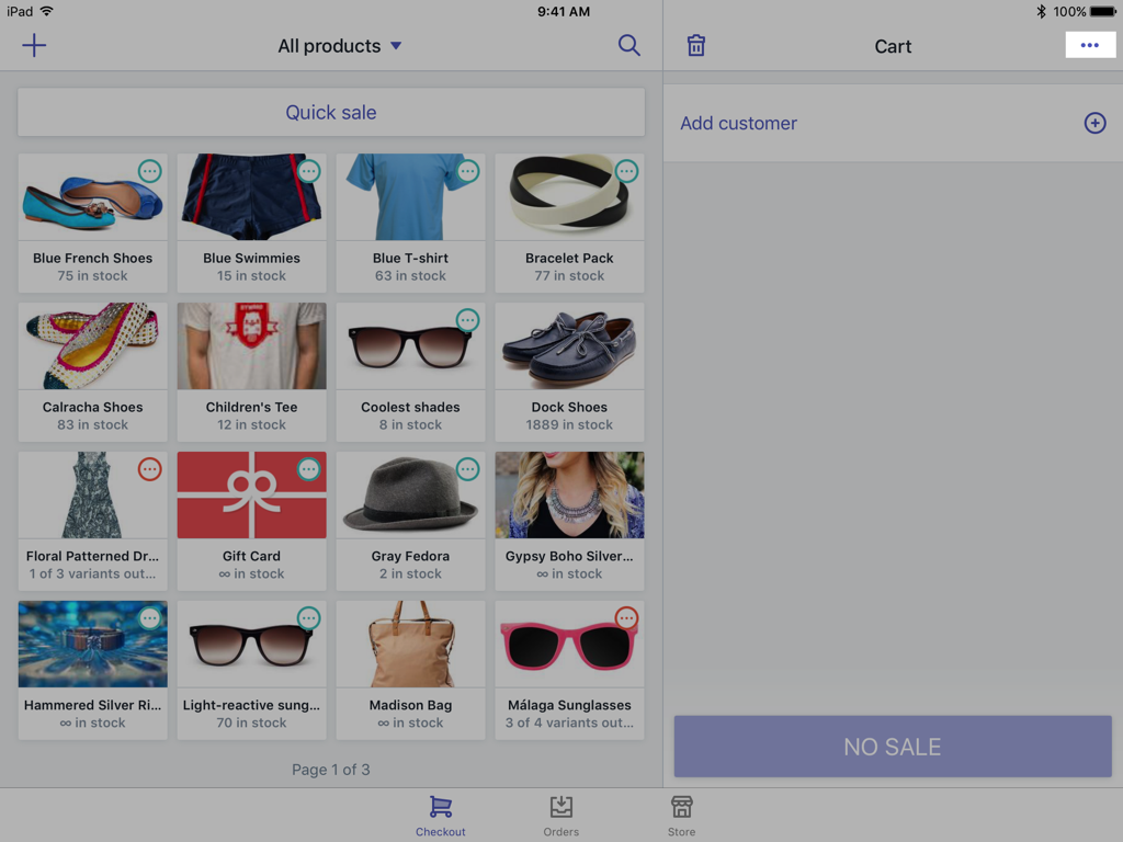 Cart tray button — Shopify POS for iPad