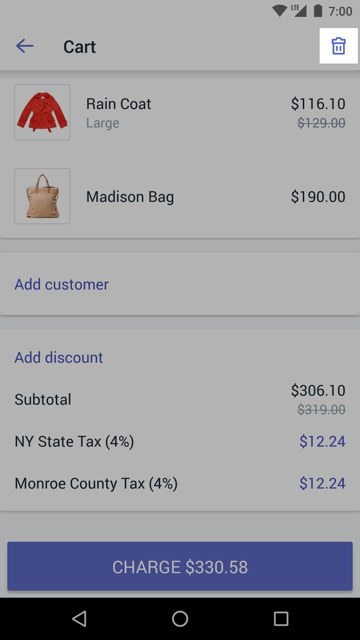 Trash can icon on the Cart screen — Shopify POS for Android