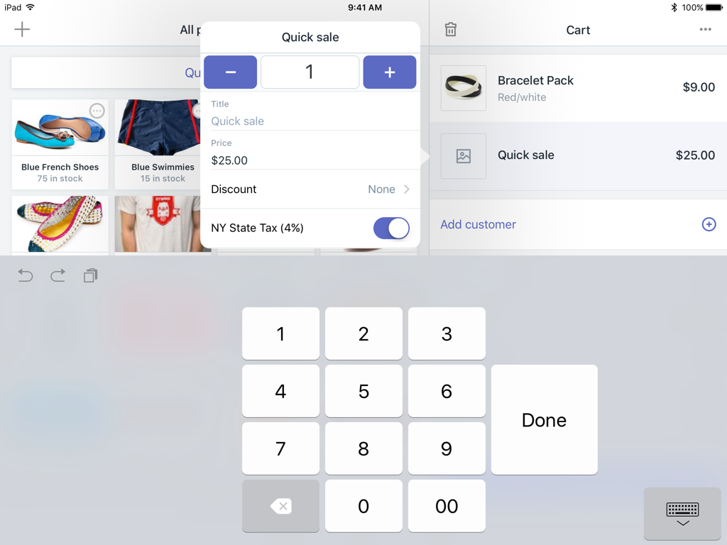 Dialog to edit a quick sale item in the cart — Shopify POS for iPad