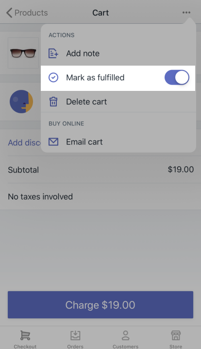 Option Mark as fulfilled (Marquer comme traitée) - Shopify PDV pour iPad