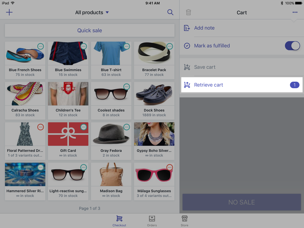 Retrieve cart button — Shopify POS for iPad