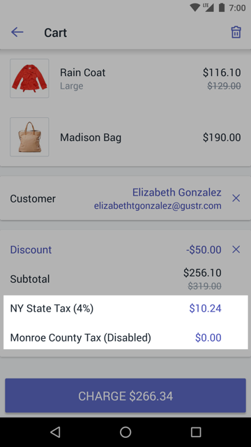 Cart screen with disabled tax rate — Shopify POS for Android
