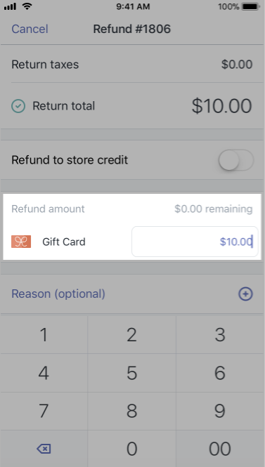 Refund Payment screen with a customized refund amount — Shopify POS for iPhone