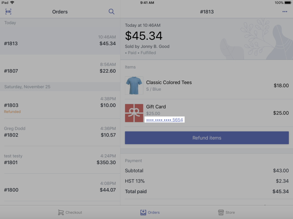 Gift card number on an order details screen