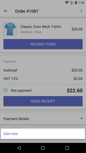 Add note to order - Shopify POS Android