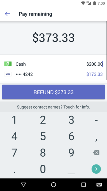 Pay remaining screen showing a complete refund split across two payment methods