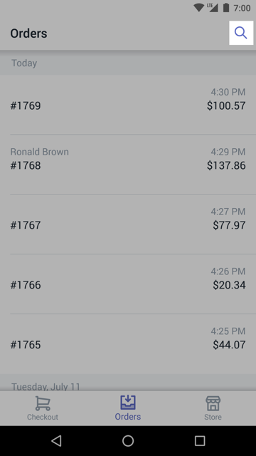 Search button on the Orders screen — Shopify POS for Android
