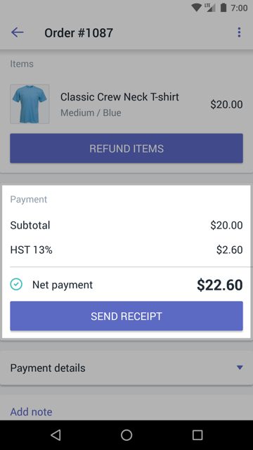 Payments section with a SEND RECEIPT button on an order details screen - Shopify POS for Android
