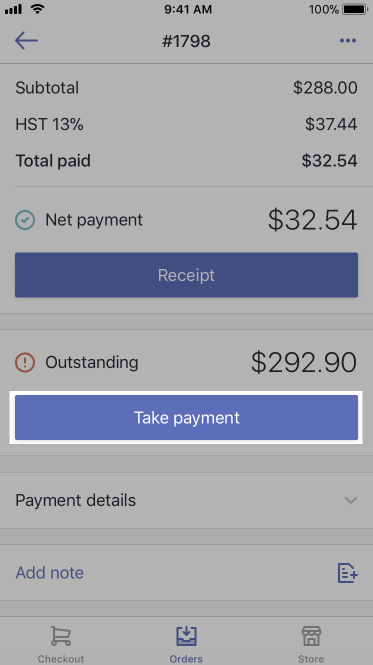 Take payment button