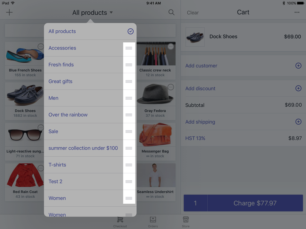 Three horizontal lines beside collection — Shopify POS for iPad