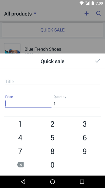 Hurtigsalg-dialogboksen –  Shopify POS for Android