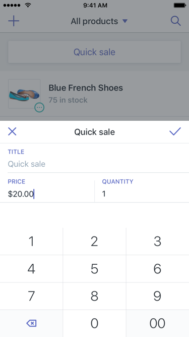 Dialoogvenster Quick Sale—  Shopify POS voor iPhone