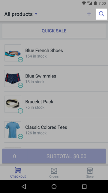 Shopify POS checkout search icon — Shopify POS for Android