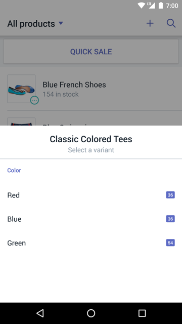 Variant dialog showing Size option values — Shopify POS for Android