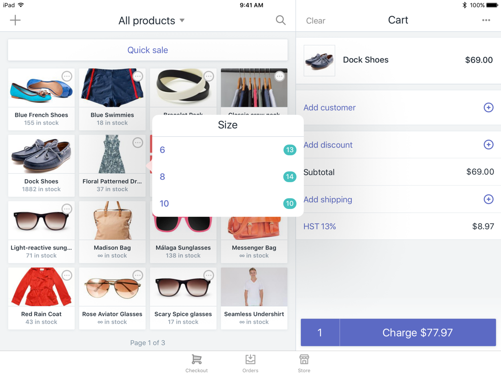 Variant dialog showing Size option values — Shopify POS for iPad