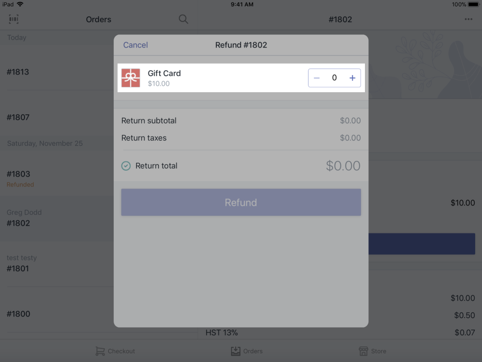 + and - buttons in Refund dialog — Shopify POS for iPad